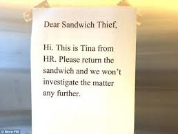I  don't know about you, but if I worked there, Tina from HR would be going hungry EVERY single lunchtime.
